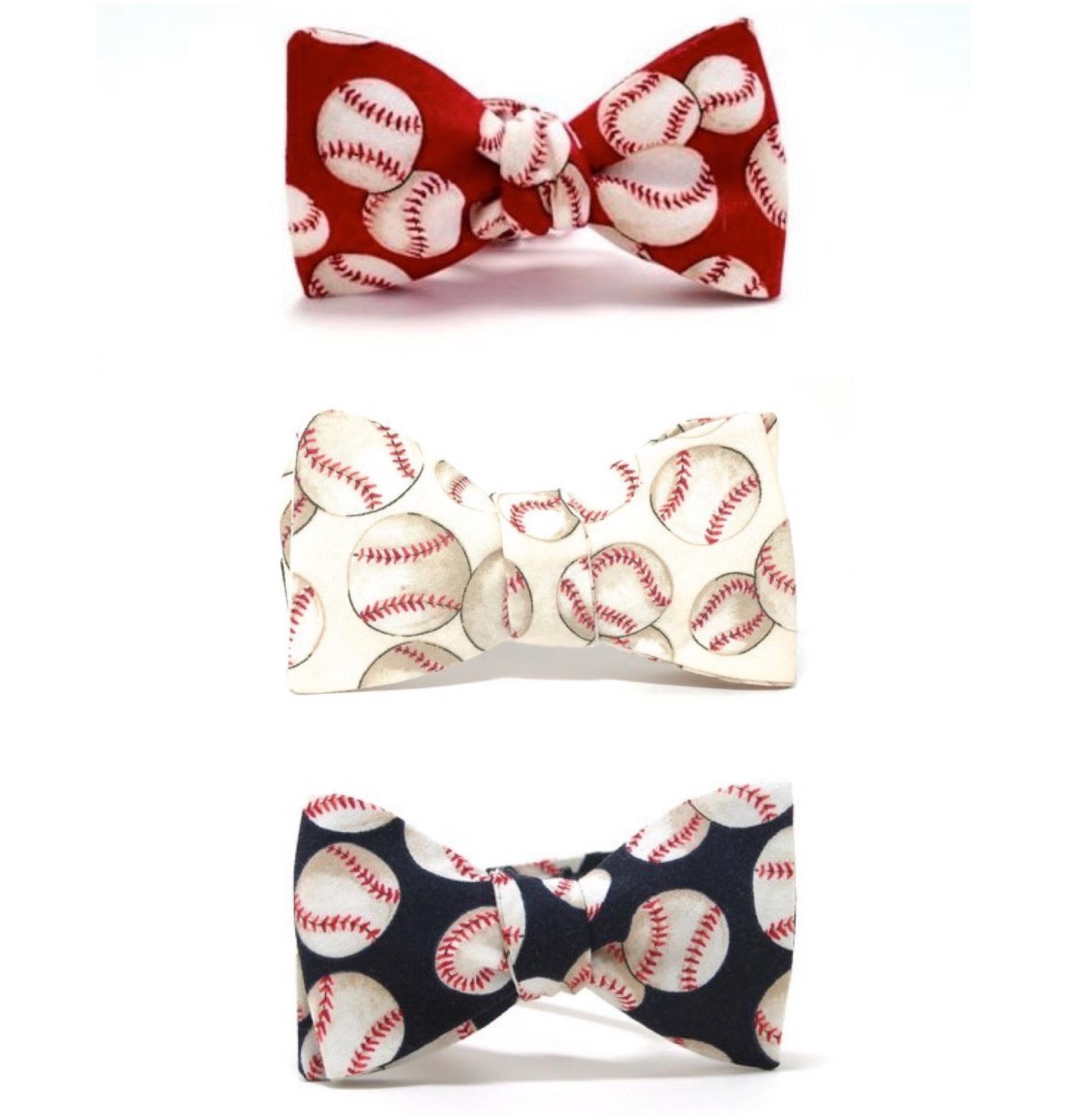 Photo of the Triple Play baseball bow tie bundle